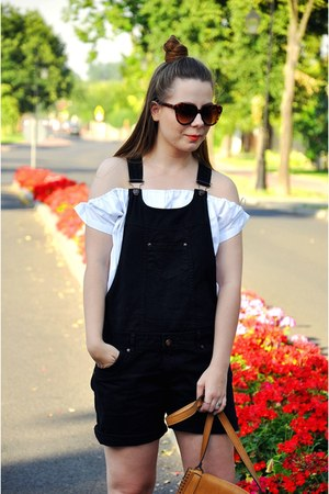 white blouse - black dungarees romper