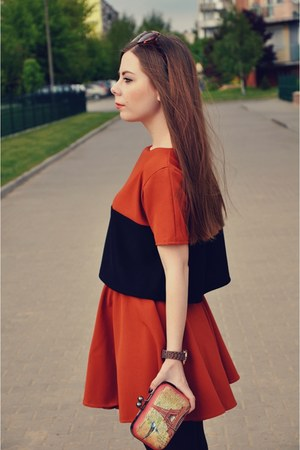 carrot orange blouse - carrot orange skirt