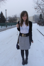white top - black cardigan - black belt - skirt - gray purse - black boots