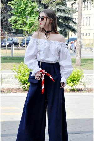 navy handmade pants - white blouse