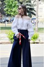 Navy-handmade-pants-white-blouse