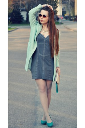 aquamarine mint coat - heather gray dress