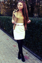 gold blouse - cream skirt