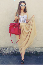 red bag - ivory top - nude skirt