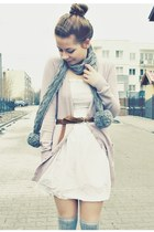 white dress - heather gray scarf - silver socks - light pink cardigan