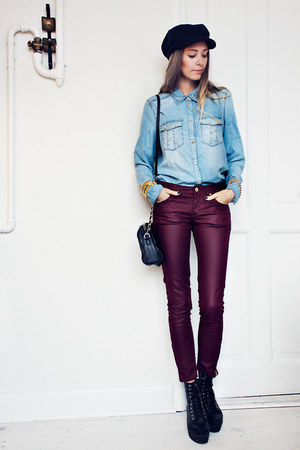 sky blue denim Mango shirt - black Mango bag - brick red H&M pants