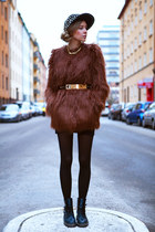 brown faux fur asos jacket - black studded romwe hat