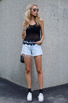 black crochet LA brand top - light blue denim Levis shorts