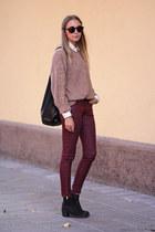tan vintagediy sweater - ivory Stine Goya shirt - black Arch Industry bag