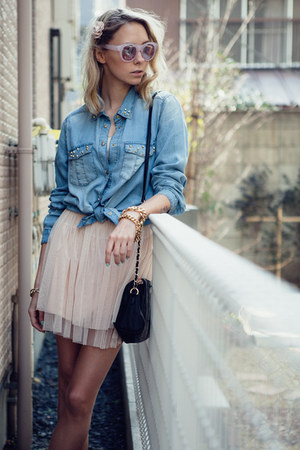 sky blue denim Mango shirt - light pink ballet dress Chicwish dress