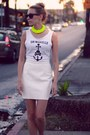 Off-white-leather-american-apparel-skirt-yellow-cotton-diy-accessories