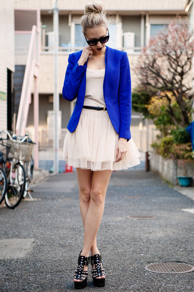 blue electric blue H&M blazer - light pink ballerina tutu chicwishcom dress