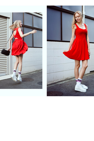 red chicwishcom dress - white cotton Vans socks - white H&M sneakers