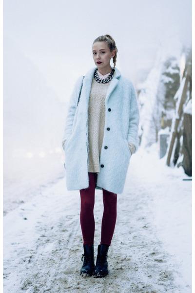 Light Blue H&ampM Wool Coat | Chictopia