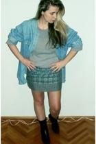 Levis shirt - donovan blouse - vintage skirt - Bata boots