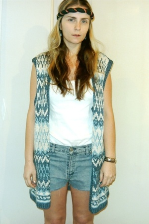 vintage vest - vintage shorts - vintage accessories