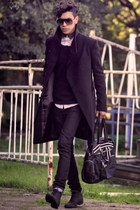 Zara boots - Cheap Monday jeans - asos shirt - LeeCooper bag - Zara cardigan