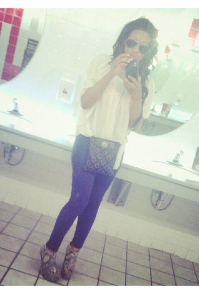 Make Me Chic shoes - H&M leggings - coach bag - Ross blouse