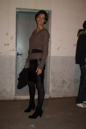 black Zara boots - Promod blazer - Easy Wear cardigan - zarra skirt