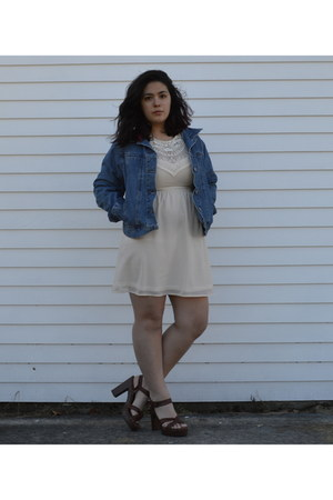 crochet H&M dress - denim jacket thrifted jacket - chunky thrifted heels