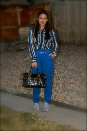 blue stripes blue Arc Thift store blouse - blue Greenhills Mall pants
