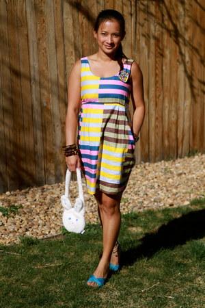 light yellow stripes thifted dress - white my dolls purse Bunny Rabbit purse