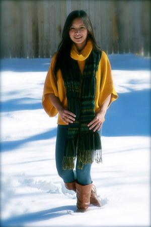 brown DSW boots - sky blue Target leggings - navy Forever 21 scarf - gold Target