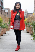 red sam edelman boots - red French Connection coat