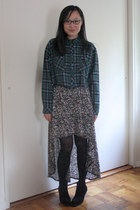 black Cheap Monday boots - black threadsence dress - teal nice claup shirt