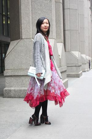 aquamarine shoulder bag Rebecca Minkoff bag - red midi dress vintage dress