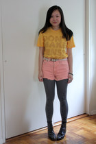 black vintage boots - navy from hong kong leggings - pink Car Mar shorts