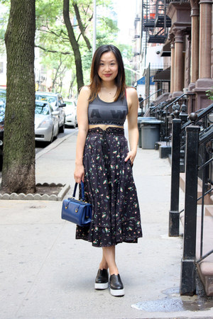navy floral skirt vintage skirt - blue vintage bag
