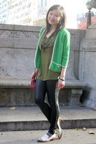 black leather Love Boat pants - green vintage sweater - red from japan purse