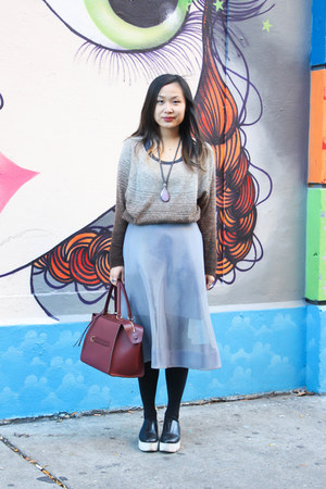 light brown ombre Kookai sweater - brick red leather Celine bag