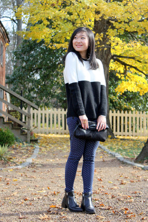 black zipper Zara boots - white color block Zara sweater
