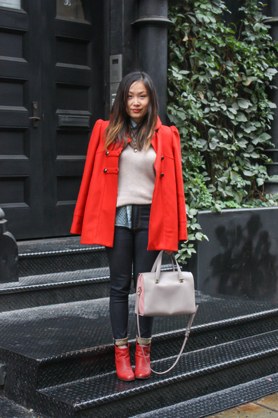 Red-booties-sam-edelman-boots-red-military-french-connection-coat