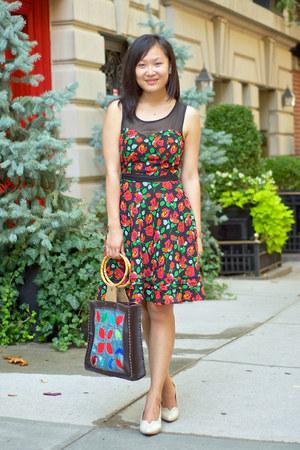 off white vintage vintage heels - red floral dress H&M dress