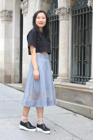 sky blue mesh COS skirt - black flatforms & other stories shoes - black H&M top