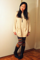 black Aigle boots - neutral from hongkong sweater - black printed LF pants