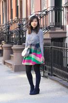 pink flared skirt Dazzle skirt - navy stuart weitzman boots