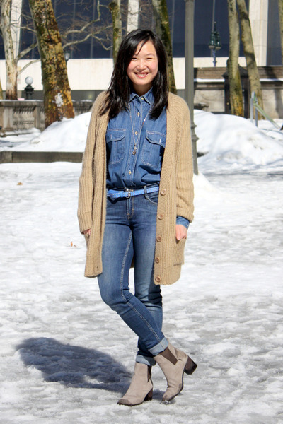 blue denim French Connection jeans - heather gray Pour La Victoire boots