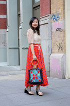 red polka dots unknown brand skirt - blue patchwork unknown brand bag
