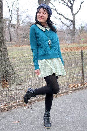 teal textured EQIQ sweater - black combat boots BDG boots
