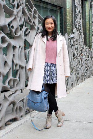 light pink oversized Zara coat - heather gray ankle boots Initial boots