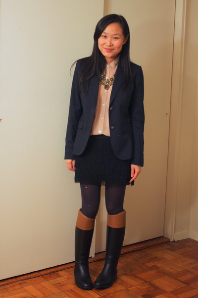 black Aigle boots - navy JCrew blazer - neutral American Apparel shirt
