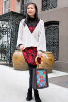 black Cheap Monday boots - ruby red floral dress Urban Outfitters dress