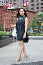 black lbd free people dress - light pink kate spade bag