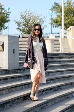 black kimono free people cape - light pink crochet Millau dress