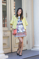 white jacquard Rose Gal dress - light yellow cropped Gisella Noir jacket