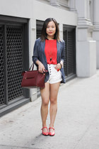 red polka dots vintage shoes - blue denim jacket Urban Outfitters blazer